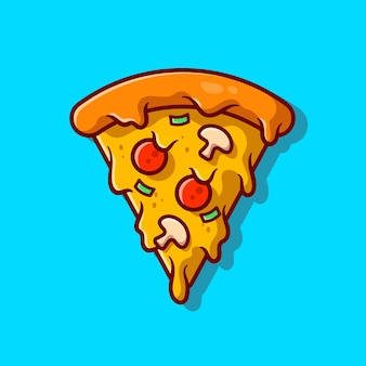 ピザのスライス溶けた漫画アイコンイラスト。