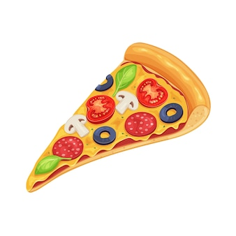 Кусочек пиццы с помидорами, пепперони и грибами.
