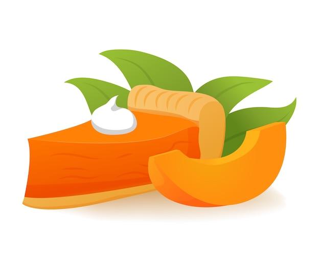 ホイップクリームをトッピングしたパンプキンパイのスライス。秋野菜のデザートのコンセプトです。