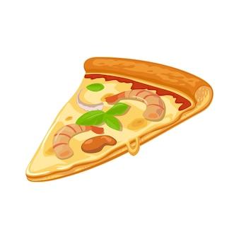 Кусок пиццы с морепродуктами. изолированная векторная иллюстрация квартиры для плаката, меню, логотипа, брошюры, сети и значка. белый фон.