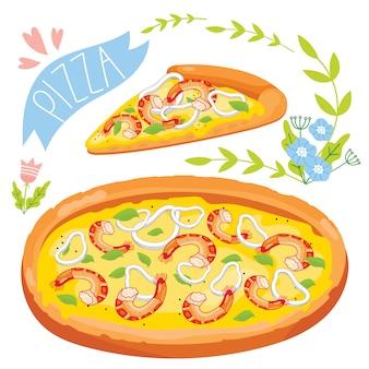 Slice of pizza isolated on white background
