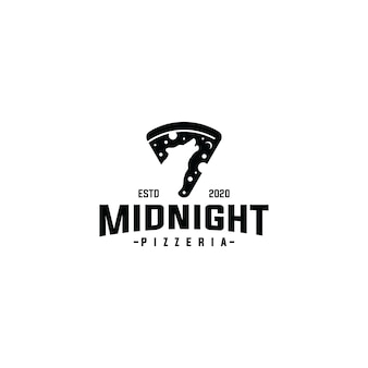 Slice pizza logo with midnight wolf design vector template