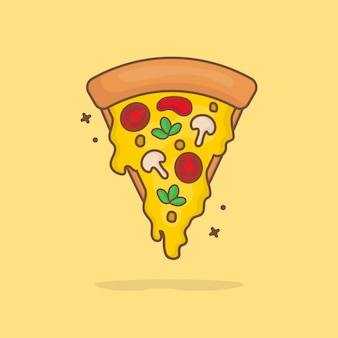 Slice of pizza melted cartoon   illustration. fast food icon concept isolated  . flat cartoon style.
