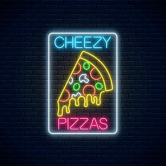 Slice of pizza with dripping cheese in neon style.