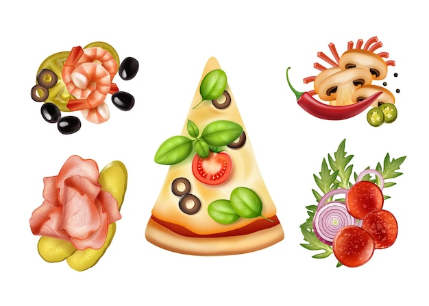 Slice of pizza with four variants of fillings