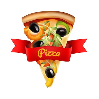 Slice of pizza with pepper. olives and salad with red ribbon isolated on white