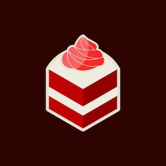 슬라이스 레드벨벳 케이크 스티커 프린트