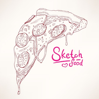 A slice of sketch appetizing pizza margherita
