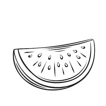 Нарежьте арбуз. значок наброски фруктов, рисунок монохромный иллюстрации. здоровое питание, натуральные продукты, вегетарианские продукты.