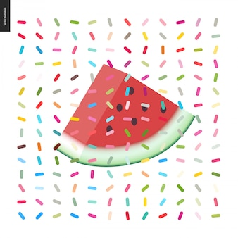 Slice of watermelon and a seamless pattern