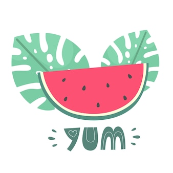 Slice of watermelon with tropical leaves and the word yum in flat doodle style handdrawn vector
