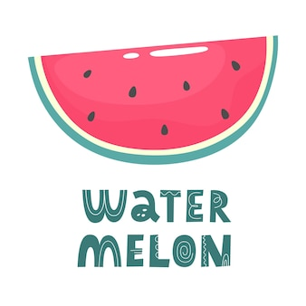 A slice of watermelon with the word watermelon in flat doodle style handdrawn vector illustration