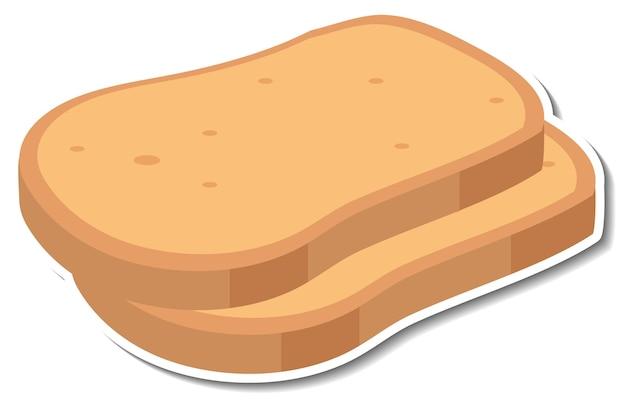 Adesivo pane a fette su sfondo bianco