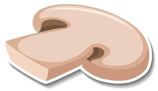 Sliced champignon mushroom sticker on white background