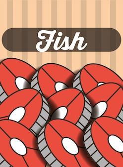 Sliced fish menu restaurant poster