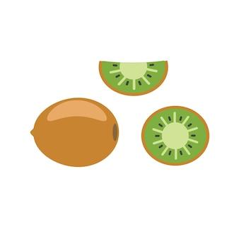 평면 그림에서 슬라이스 키위 과일
