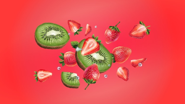 슬라이스 키위, 딸기, 물방울이 서로 다른 방향으로 흩어집니다. 현실적인 그림.