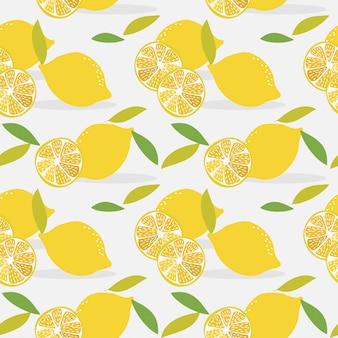 Sliced lemon seamless pattern.