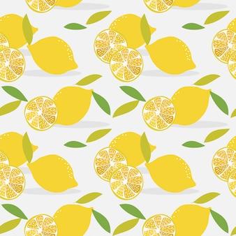 Sliced lemon seamless pattern.