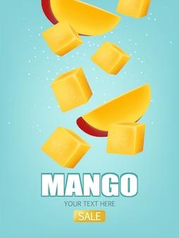 Sliced mango fruit sale banner