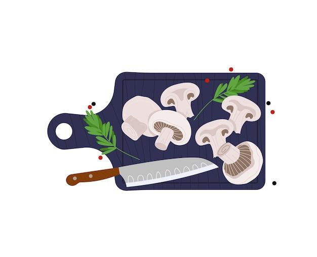 キノコ、キッチンナイフ、料理、野菜料理ボード、白、デザイン、フラットスタイルのイラストで隔離をスライスしました。新鮮な健康的なスライス、食用の食事、夕食、料理の背景。