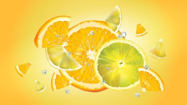 얇게 썬 오렌지와 레몬에 물방울이 다른 방향으로 흩어져 있습니다. 현실적인 그림.