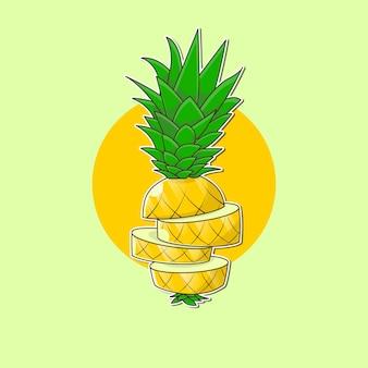 Sliced pineapple cartoon vector illustration