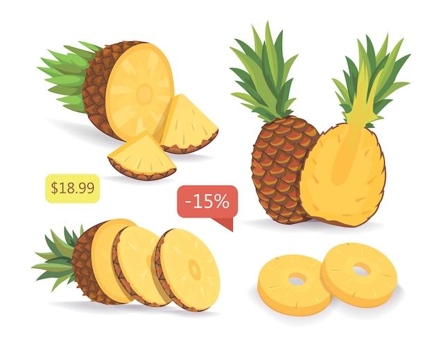 Нарезанный ананас изолированных векторная коллекция. установить ананас с ценой. векторная иллюстрация на белом фоне