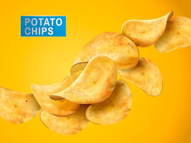 スライスしたポテトチップスの静物、黄色の背景