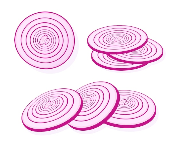 Sliced red onion isolated on white background. rings of red onion.  illustration.
