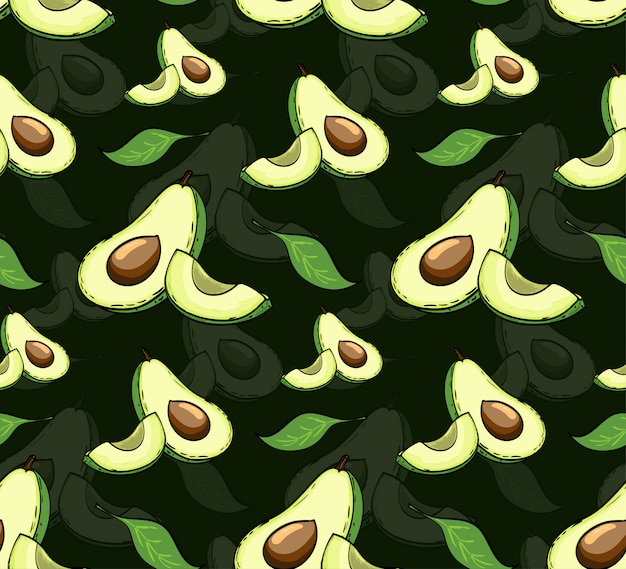 Sliced vector avocado with leaves seamless pattern.