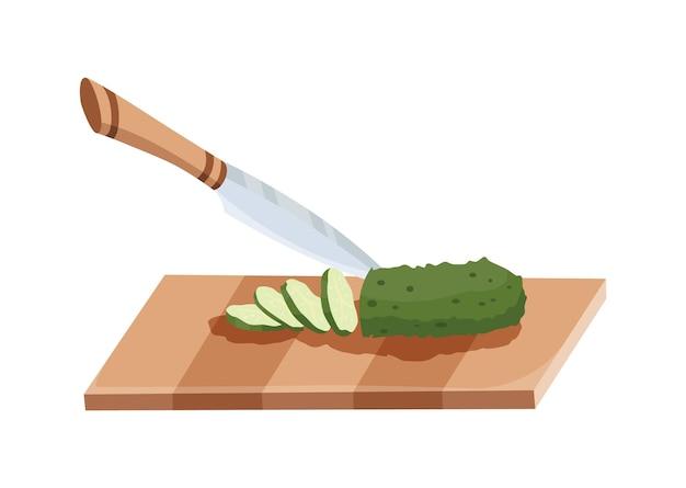 얇게 썬 야채. 칼로 오이를 자르십시오. 흰색 배경에 고립 된 나무 보드에 절단. 요리를 준비합니다. 만화 플랫 스타일의 다진 신선한 영양