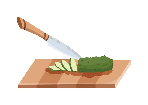 Sliced vegetable. slicing cucumber by knife. cutting on wooden board isolated on white background. prepare to cooking. chopped fresh nutrition in cartoon flat style