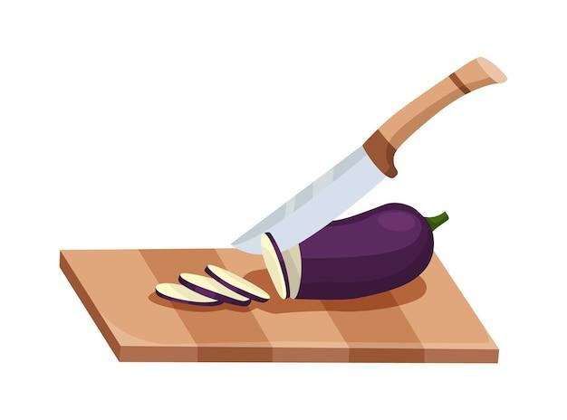 얇게 썬 야채. 칼로 가지 자르기. 흰색 배경에 고립 된 나무 보드에 절단. 요리를 준비합니다. 만화 플랫 스타일의 다진 신선한 영양.