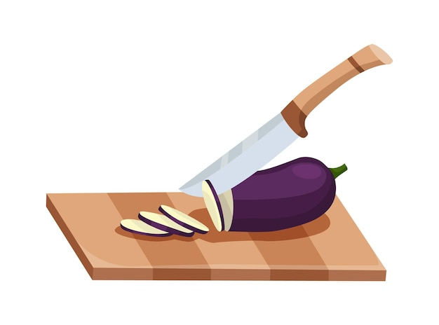 Sliced vegetable. slicing eggplant by knife. cutting on wooden board isolated on white background. prepare to cooking. chopped fresh nutrition in cartoon flat style.