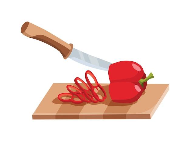 Нарезанный овощ. нарезать перец ножом. резка на деревянной доске, изолированные на белом фоне. готовимся к приготовлению. нарезанные свежие продукты в мультяшном стиле.