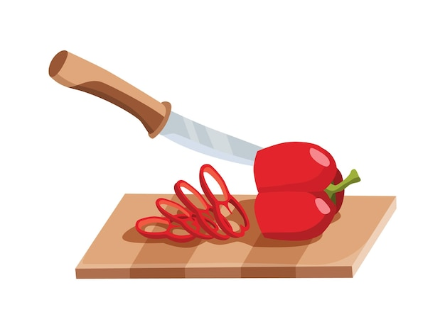 Sliced vegetable. slicing pepper by knife. cutting on wooden board isolated on white background. prepare to cooking. chopped fresh nutrition in cartoon flat style.