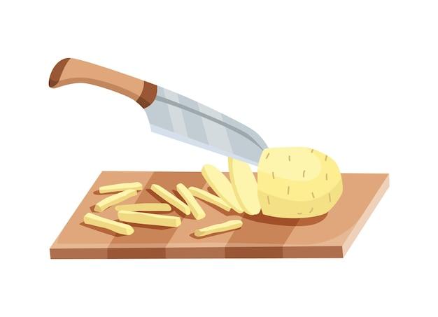 얇게 썬 야채. 칼로 감자 썰기. 흰색 배경에 고립 된 나무 보드에 절단. 요리를 준비합니다. 만화 플랫 스타일의 다진 신선한 영양