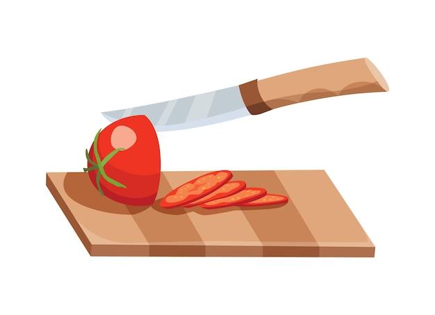 얇게 썬 야채. 칼로 토마토 슬라이스. 절연 나무 보드에 절단