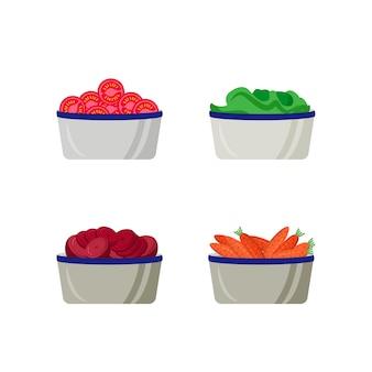 プレートフラットカラーオブジェクトセットでスライスした野菜。容器に入った生サラダの材料。食料品売り場孤立漫画