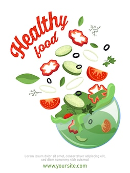 Poster di verdure a fette con cetriolo pepe ed erbe aromatiche piatte