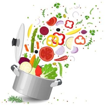 Sliced vegetables in saucepan