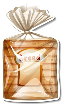 Sliced wheat breads in packaged sticker on white background