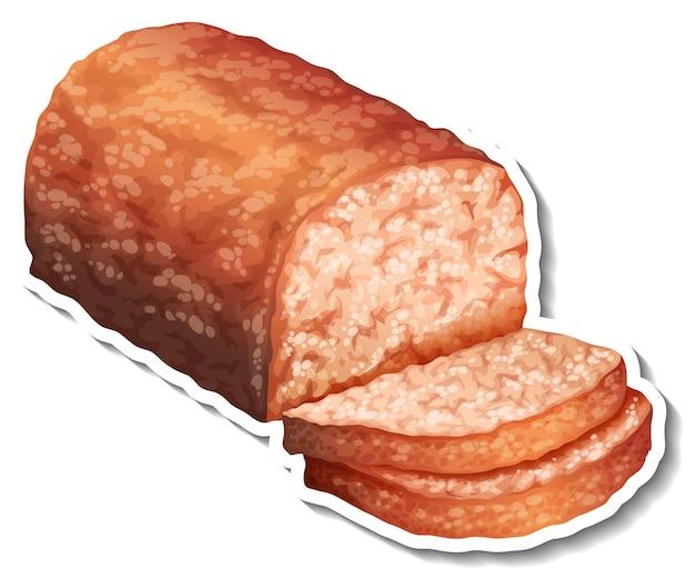 Наклейка нарезанный пшеничный хлеб на белом фоне