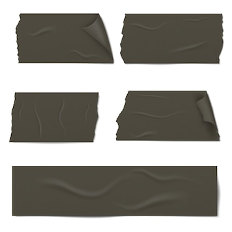 Slices of a black adhesive tape