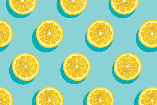 Slices of fresh yellow lemon summer background.