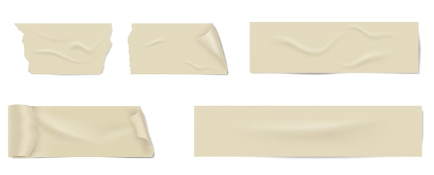 그림자와 주름이있는 접착 테이프 조각.