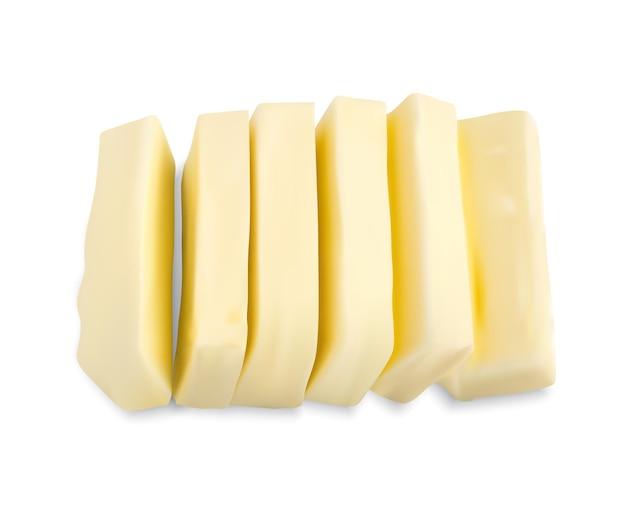 Ломтики сливочного масла, изолированные на белом фоне. реалистичная иллюстрация