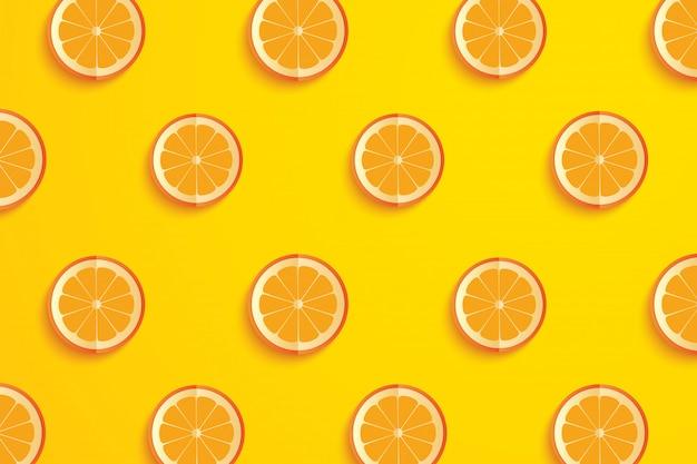 オレンジ色の紙アート夏の背景のスライス。