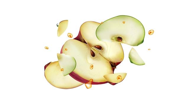 Дольки красных и зеленых яблок с каплями сока разлетаются в разные стороны. реалистичная иллюстрация.